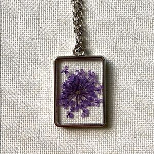 Purple Pressed Flower Resin Silver Necklace